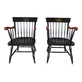 Nichols & Stone Federal Eagle Stenciled Windsor Style Arm Chairs - a Pair