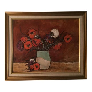 1940s Original Still Life Poppies in a Vase Oil Painting