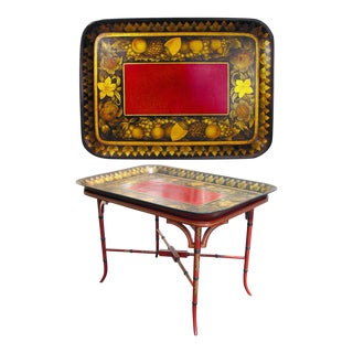 Papier Mache Tray with Burgundy Centre & Stand.