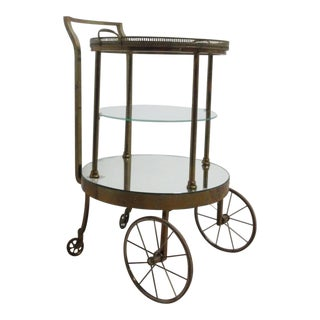 Vintage French Regency Brass Tea Cart Server Bar Liquor Cabinet