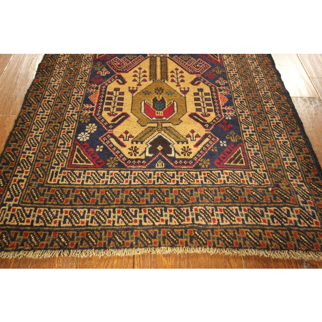 "Navy Blue Tribal Afghan Balouch Rug - 3'1"" x 9'2"" - Image 6 of 8"