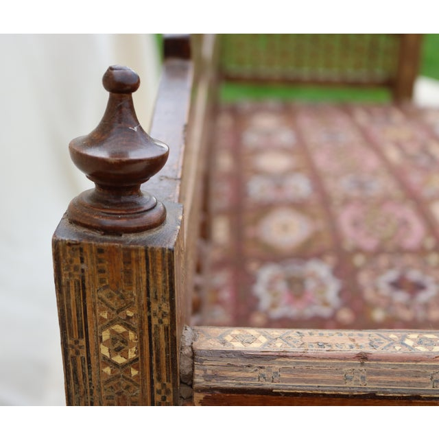Antique Syrian Moorish Style Inlaid Settee & Tables - Set of 3 - Image 10 of 11