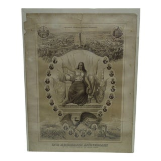 """Vintage United States """"One Hundredth Anniversary"""" Centennial Poster"""