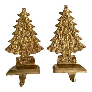 Brass Christmas Tree Stocking Holders - A Pair