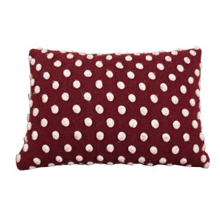 Red Woolen Throw Pillow