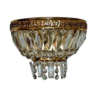 Single Rock Crystal & Brass Sconce