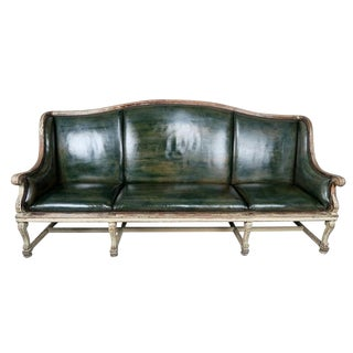 Swedish Painted Leather Upholstered Sofa