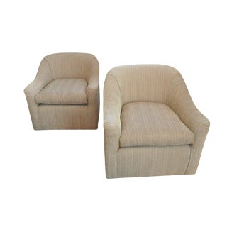 Custom Swivel Club Chairs- A Pair