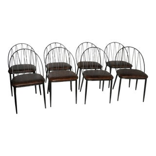 Industrial Style Italian Leather Dining Chairs - Set of 8