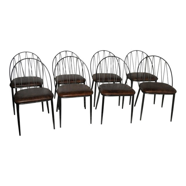 Industrial Style Italian Leather Dining Chairs Set Of 8