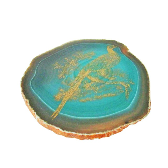 Image of Emerald or Malachite Green Geode with Bird Design