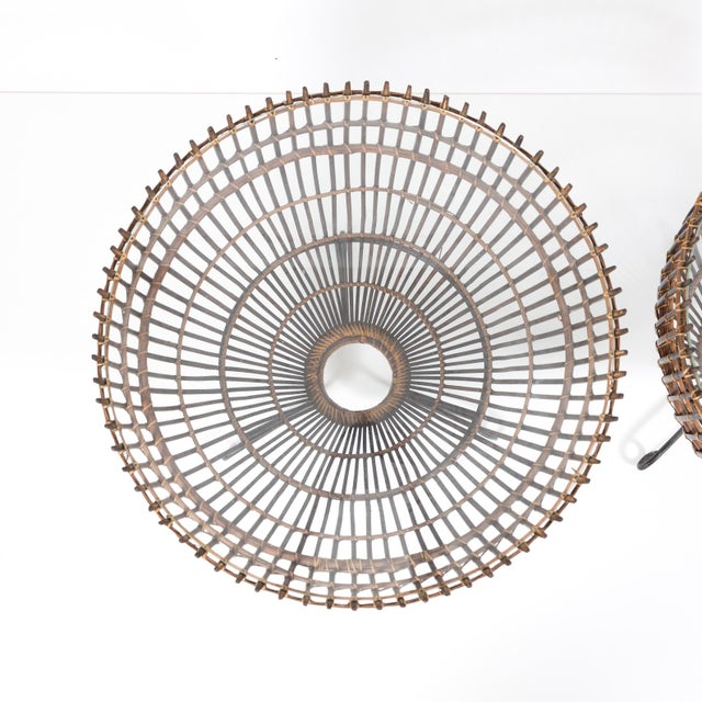 Image of Mid-Century Franco Albini Style Rattan Side Tables