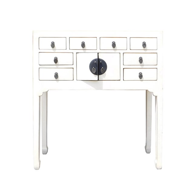 Off-White Distressed Console Table - Image 1 of 7