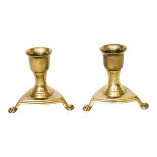 Brass Paw Feet Candle Holders - A Pair