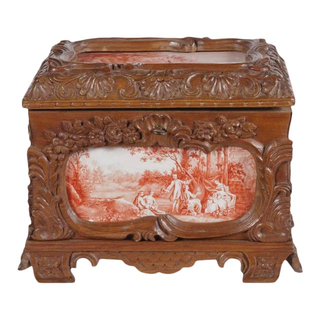 19th Century French Carved & Hand-Painted Pastoral Scenes Tile Jewelry Box - Image 1 of 9