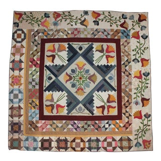 20th Century Amazing Center Star Medallion Quilt