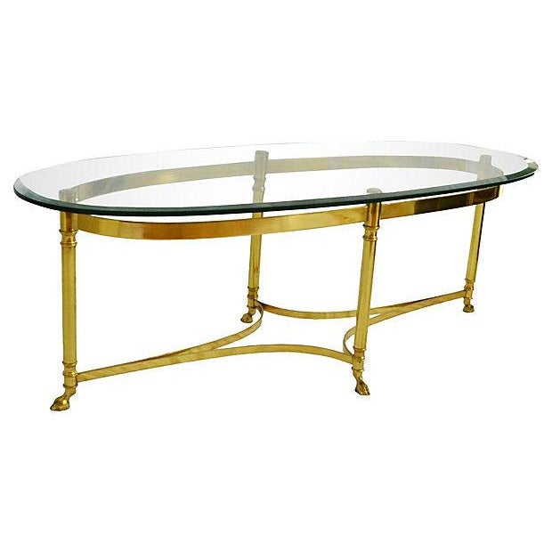 Image of LaBarge Oval Brass Cocktail Table