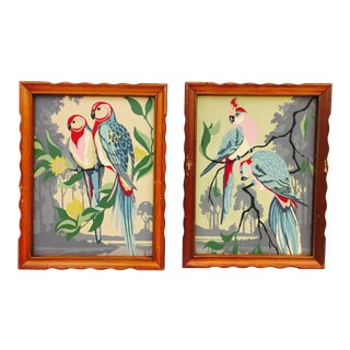 Vintage Framed Tropical Bird Paint By Numbers Paintings - A Pair