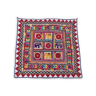 Indian Embroidered Elephant Textile