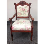 Image of Vintage Cherry Wood Custom Upholstered Chair