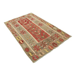 "Vintage Turkish Tribal Oushak Handmade Flatwoven Kilim Rug - 3'3"" x 5'"