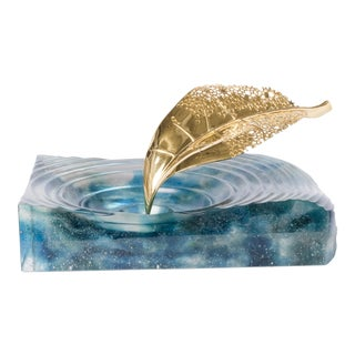 Life Is Gold Glass Sculpture Aqua Tray