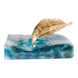 Life Is Gold Glass Sculpture Aqua Tray