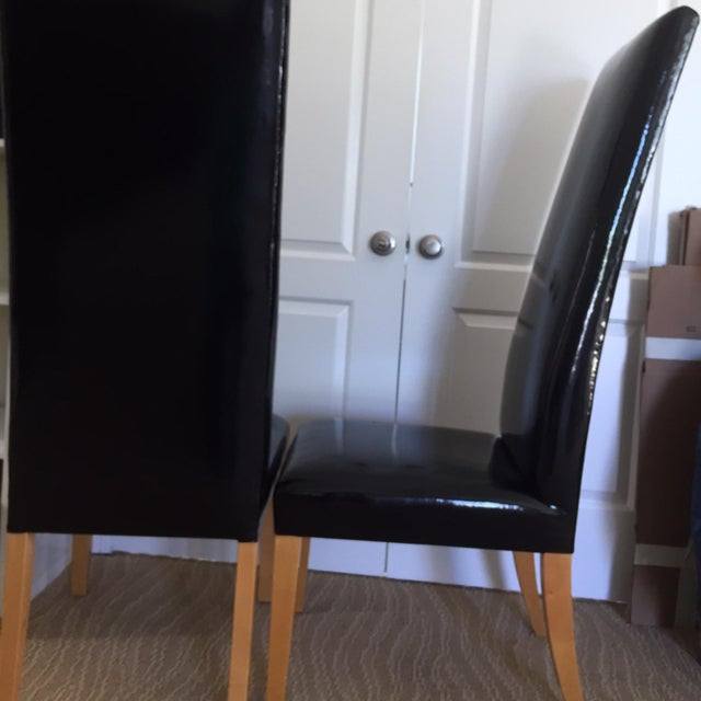Patent Leather High Back Chairs - A Pair - Image 6 of 8