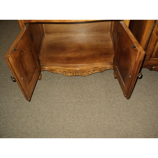 Stanley French Provincial Pecan Nightstands - A Pair - Image 5 of 6