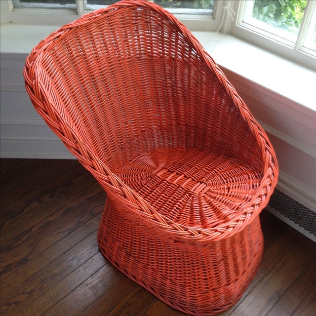 Vintage Bright Orange Wicker Chair - Image 11 of 11