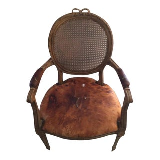 Louis XVI Caned & Leather Fauteuil