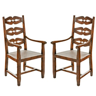 18th Century Ladderback Armchairs - A Pair