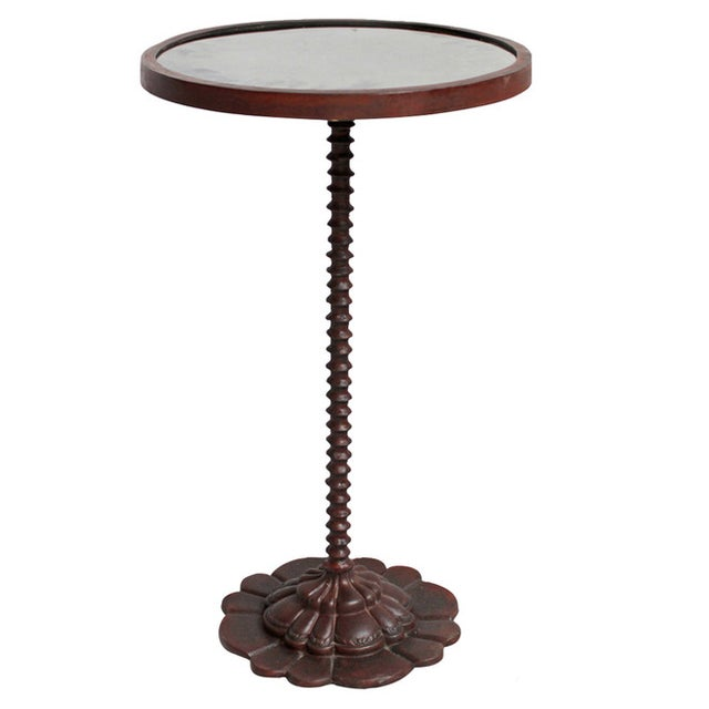 Cast iron scalloped side table chairish for Cast iron end table