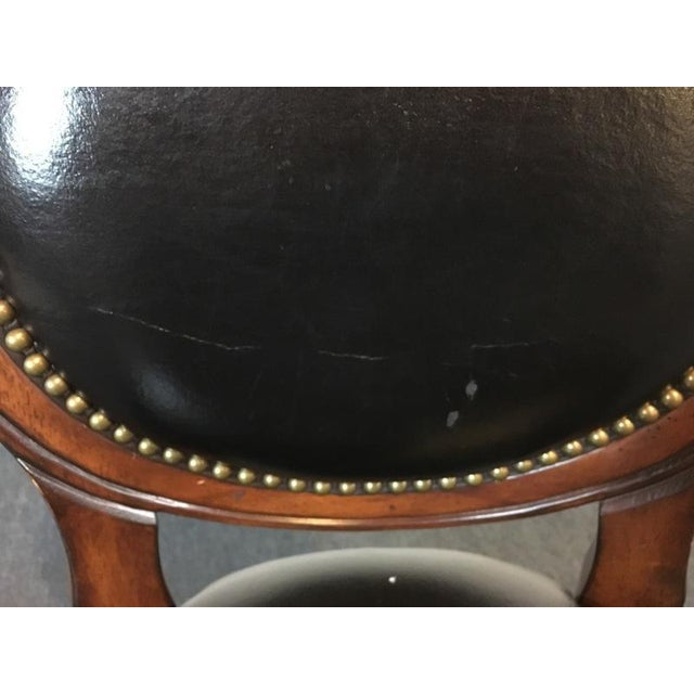 Mahogany & Black Leather Swivel Bar Stools - A Pair - Image 9 of 11