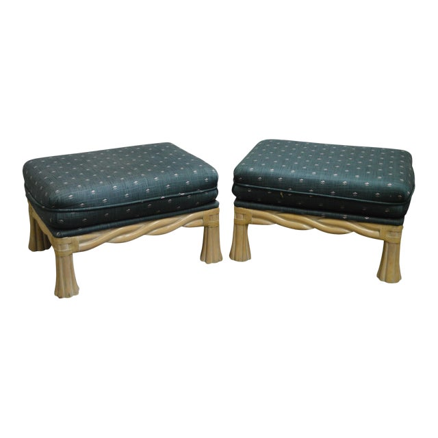 Lane Venture Pair of Twisted Rattan Ottomans - Image 1 of 11