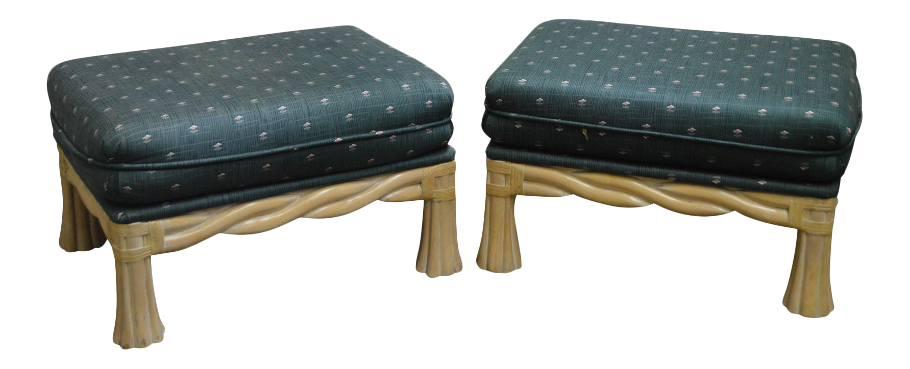 Lane Venture Pair Of Twisted Rattan Ottomans