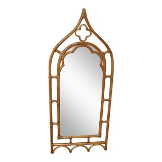 Vintage McGuire Gothic Collection Rattan Arched Mirror