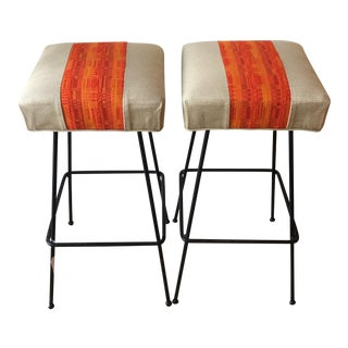 1950s Orange Striped Barstools - A Pair