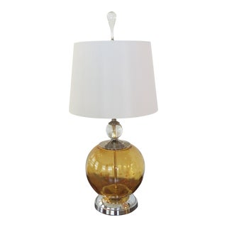 Copper Gold Blown Glass Lamp on Chrome Base with Custom Finial