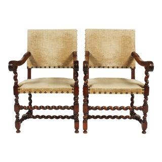 Antique English Barley Twist Walnut Armchairs - a Pair
