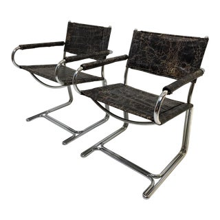 Retro Vintage Chrome Sling Chairs, Milo Baughman Style - A Pair