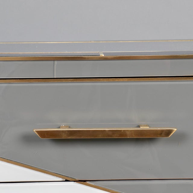 Pair of Italian Two-Drawer Cabinets with Murano Glass and Brass Inlays - Image 7 of 11