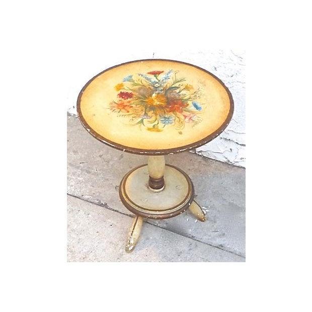 Image of Vintage Italian Hand-Painted Floral Footstool