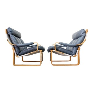 Tessa Laminated Wood & Leather Chairs - A Pair
