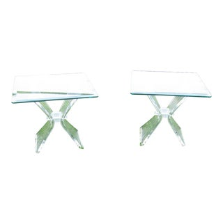 Mid-Century Modern Lucite Side Tables - A Pair