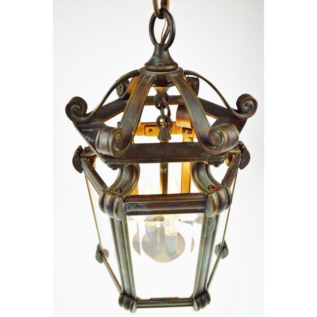 Bronze & Beveled Glass 3 Light Lantern Light Fixture - Image 8 of 11