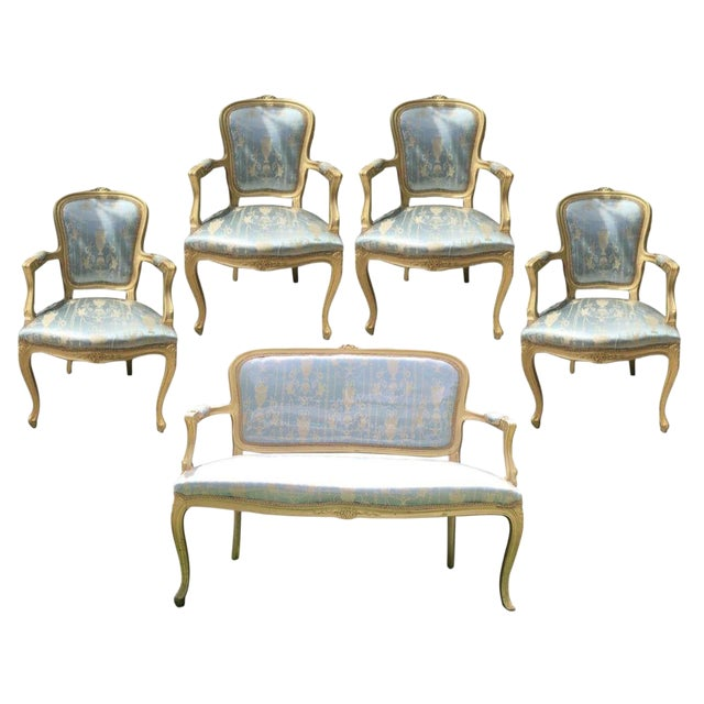 Gold Gilt Italian Louis XVI Settee & Chairs - Set of 5 - Image 1 of 8