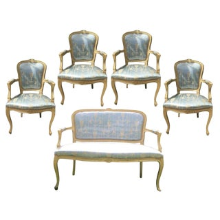 Gold Gilt Italian Louis XVI Settee & Chairs - Set of 5