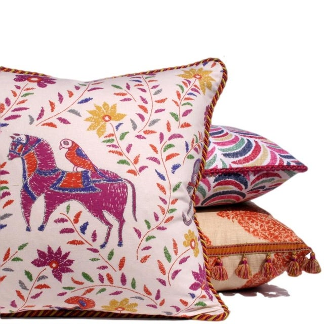 Pink Multi Ikat Pillow With Fuchsia Glass Trim - Image 2 of 2