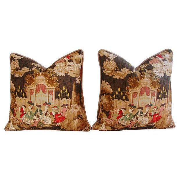 Designer French Versailles Toile Pillows - Pair - Image 7 of 7